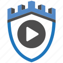 castle, encryption, firewall, guard, play, security, shield icon