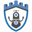 castle, encryption, firewall, guard, robotic, security, shield icon
