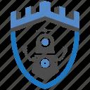 castle, encryption, firewall, guard, robotic, security, shield icon