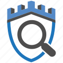 castle, encryption, firewall, guard, search, security, shield icon