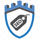 castle, encryption, firewall, guard, security, seo, shield icon