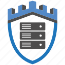 castle, encryption, firewall, guard, security, server, shield icon