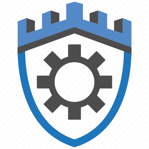 castle, encryption, firewall, guard, security, settings, shield icon