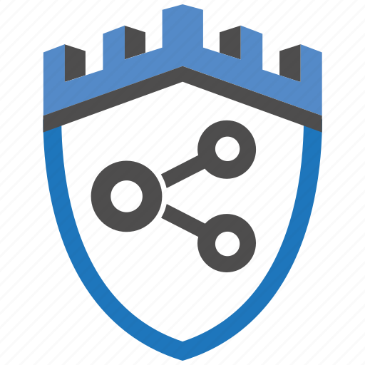 castle, encryption, firewall, guard, security, share, shield icon