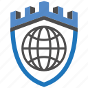 castle, encryption, firewall, guard, security, shield, world icon