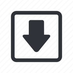 arrow, box, down, download, guardar, move, save icon