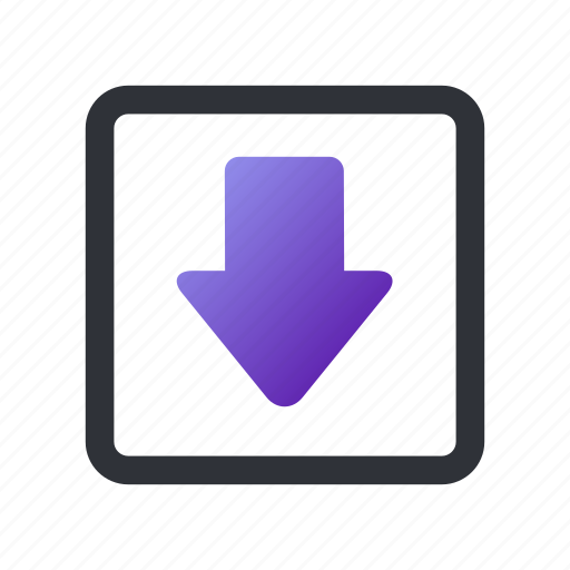 arrow, box, down, download, low icon