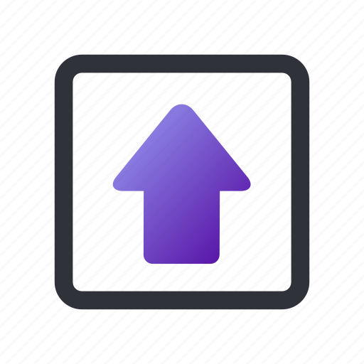 arrow, box, direction, high, up, upload icon