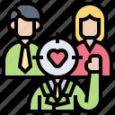customer, demand, insight, target, trend icon