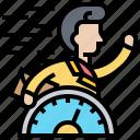 effectiveness, fast, rush, speed, work icon