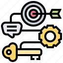 key, objective, outcome, successful, target icon