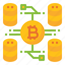 big, bitcoin, cryptocurrency, data, online icon