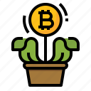 bitcoin, cryptocurrency, growing, investment icon