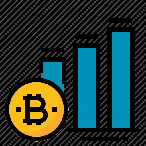 bitcoin, chart, graph, growth, increase icon