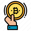 bitcoin, exchange, hand, payment, transaction icon