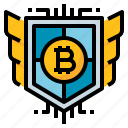 bitcoin, money, protection, safe, security icon