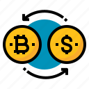 bitcoins, exchange, money, transaction icon