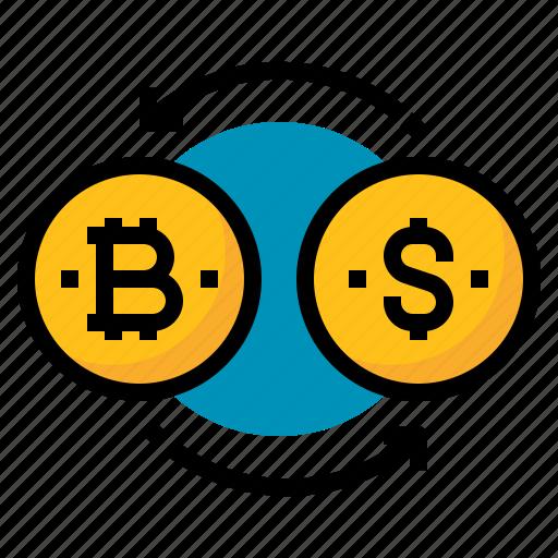 bitcoins, exchange, money, transaction icon