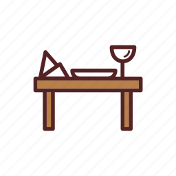 dinner, dish, glass, table icon