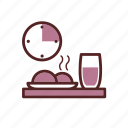 clock, food, drink, lunch time, lunch, dinner, lunch menu icon