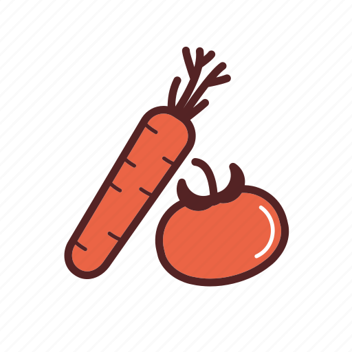 carrot, dinner, food, tomato, vegetables, vegetarian food icon