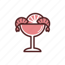 lemon, cocktail, prawn, shrimp, glass, dinner, prepared shrimp icon
