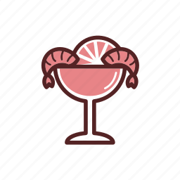 cocktail, dinner, glass, lemon, prawn, prepared shrimp, shrimp icon