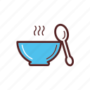 food, bowl, hot, soup, spoon, dinner icon