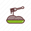dinner, dish, food, fork, meal, pasta icon
