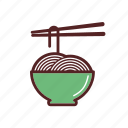 asian cuisine, chopsticks, dinner, food, meal, noodles, thai icon