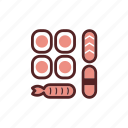 dinner, fish, food, japan, meal, sushi, sushi set icon
