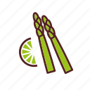 lemon, asparagus, vegetables, dinner, food, sparrowgrass icon