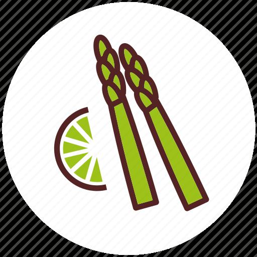asparagus, dinner, food, lemon, sparrowgrass, vegetables icon