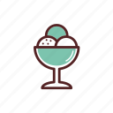 bowl, dessert, dinner, food, glass, ice cream icon