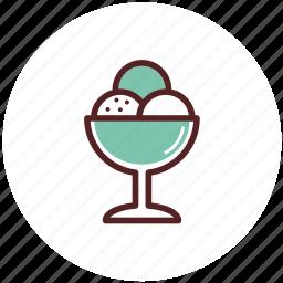 bowl, dessert, dinner, food, glass, ice cream icon