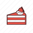 cake, cream, dessert, dinner, food, meal, strawberry icon