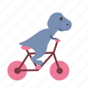 bicycle, bike, biking, boy, dino, dinosaur, ride icon