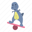 balance, board, cute, dino, dinosaur, stand icon