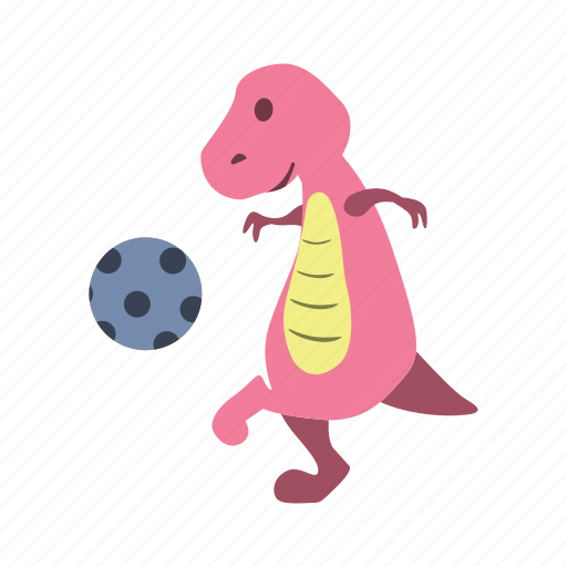 ball, blue, cute, dino, dinosaur, kick, play icon