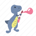 blow, bubbles, character, cute, dino, dinosaur, fun icon