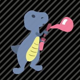 blow, bubbles, character, cute, dino, dinosaur, fun icon
