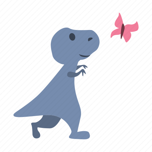 butterfly, catch, curious, cute, dino, dinosaur icon