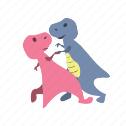 couple, cute, dance, dino, dinosaurs, together icon