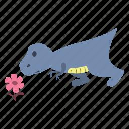 curious, cute, dino, dinosaur, flower, smell icon