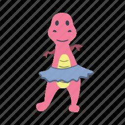 character, cute, dance, dino, dinosaur, fun, girl icon