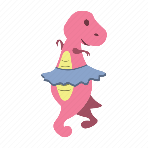 back, cute, dance, dino, dinosaur, girl, look icon