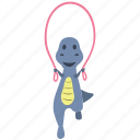 cute, dino, dinosaur, happy, jump, rope icon