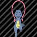 cute, dino, dinosaur, happy, jump, rope icon