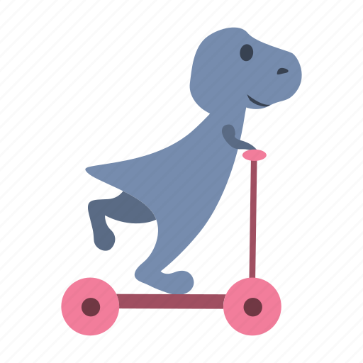 cute, dino, dinosaur, kick, ride, scooter icon