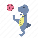 ball, cute, dino, dinosaur, kick, pink, play icon